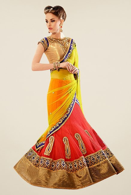 Triveni Yellow & Peach Embroidered Net Saree