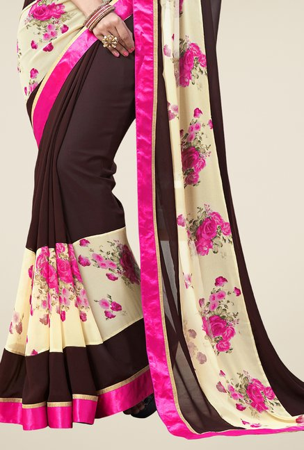 Triveni Brown & Pink Printed Faux Georgette Saree