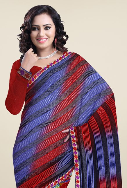 Triveni Multi Printed Faux Georgette Saree