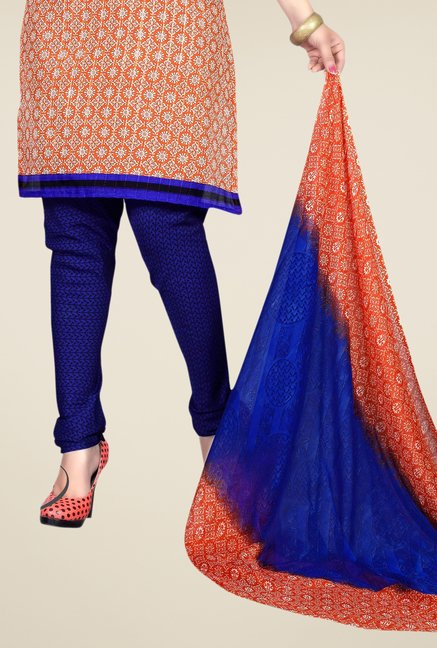 Triveni Orange & Blue Printed Dress Material