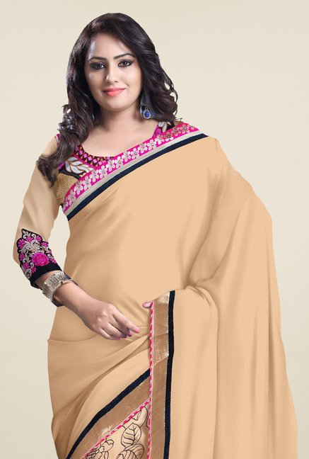 Triveni Tan Printed Chiffon Saree