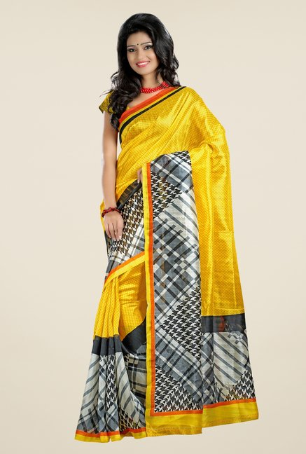 Triveni Yellow Printed Art Silk Saree