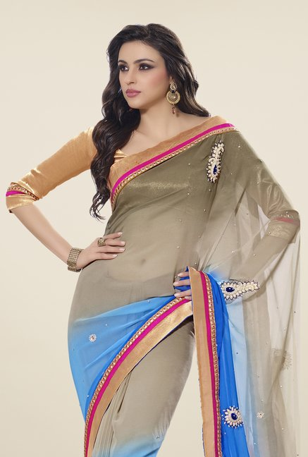 Triveni Blue & Dark Beige Embroidered Faux Georgette Saree