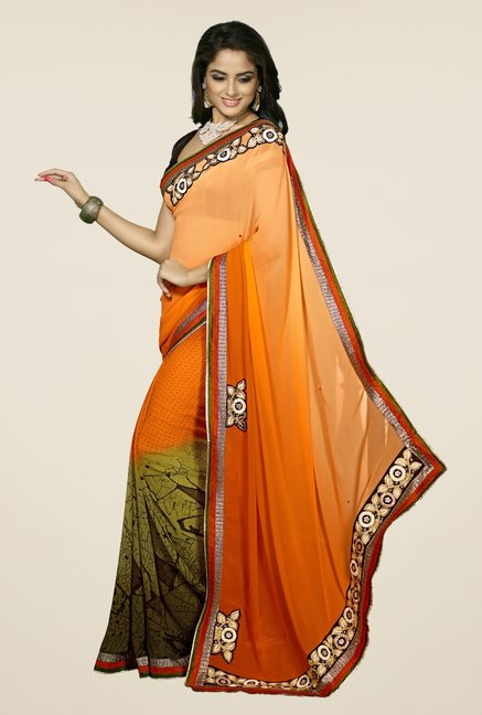 Triveni Orange & Green Printed Faux Georgette Saree