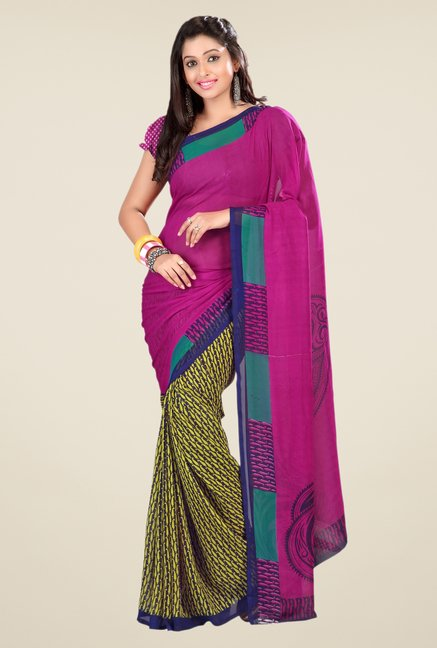 Triveni Green & Magenta Printed Faux Georgette Saree