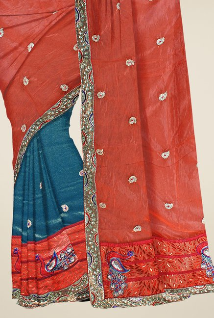 Triveni Blue & Orange Embroidered Faux Georgette Saree