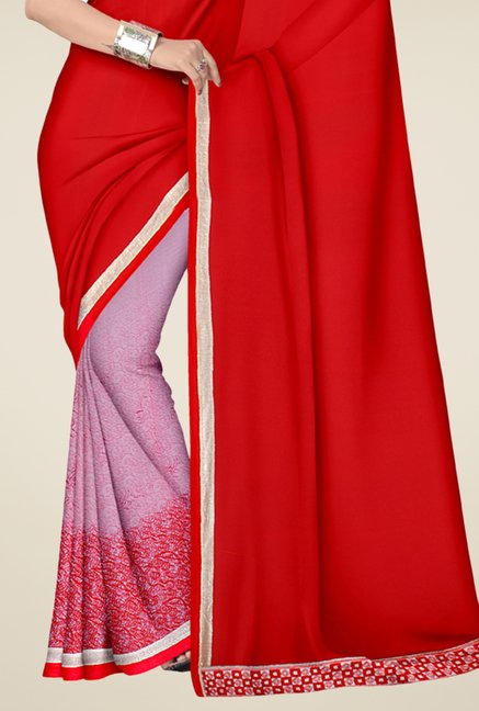 Triveni Pink & Red Printed Faux Georgette & Chiffon Saree