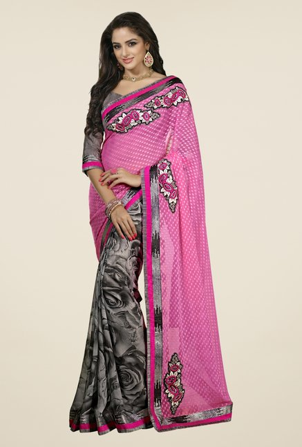 Triveni Grey & Pink Printed Faux Georgette Saree