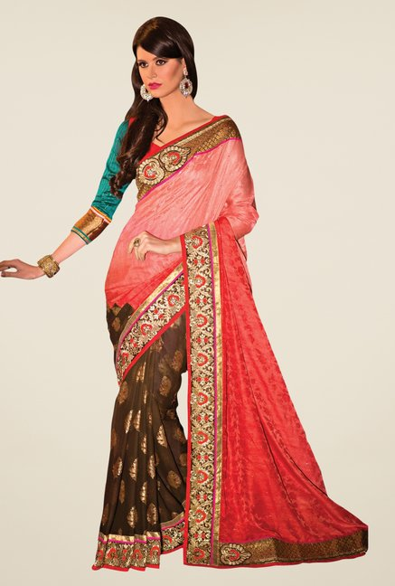 Triveni Brown & Red Printed Jacquard & Faux Georgette Saree