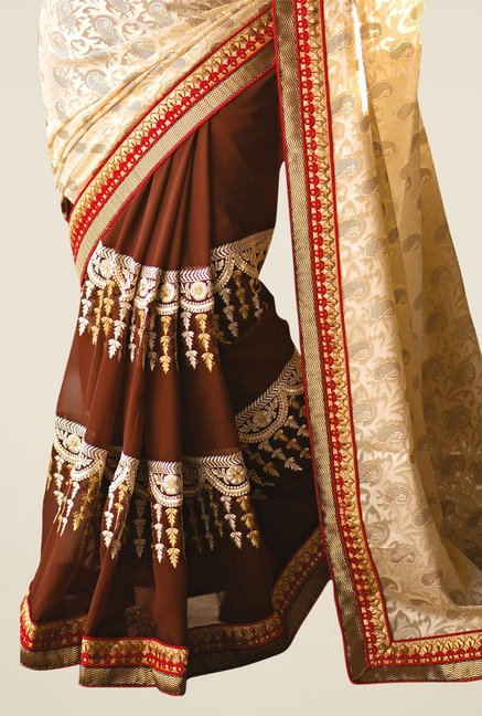Triveni Brown & Beige Printed Faux Georgette Saree