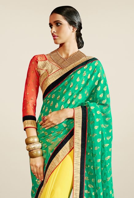 Triveni Yellow & Green Embroidered Faux Georgette Saree