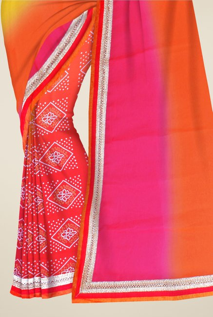 Triveni Orange & Yellow Bandhani Faux Georgette Saree