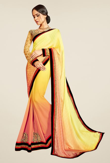 Triveni Yellow & Peach Embroidered Faux Georgette Saree