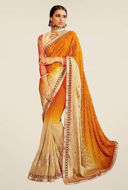 Triveni Beige & Mustard Embroidered Faux Georgette Saree