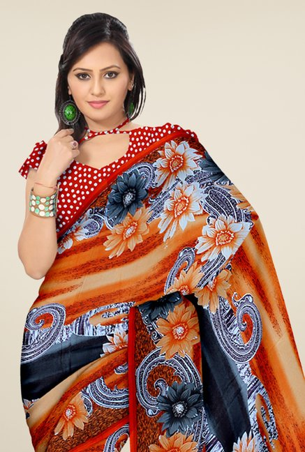 Triveni Orange & Grey Printed Faux Georgette Saree