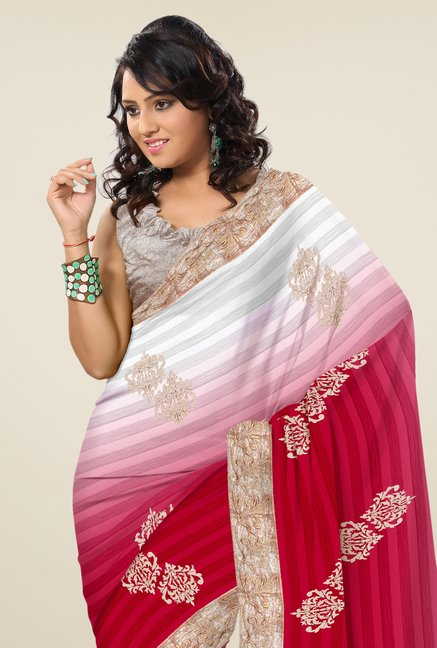 Triveni Magenta & Grey Embroidered Faux Georgette Saree