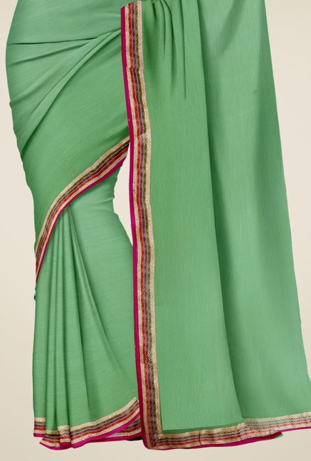 Triveni Sea Green Solid Faux Georgette Saree