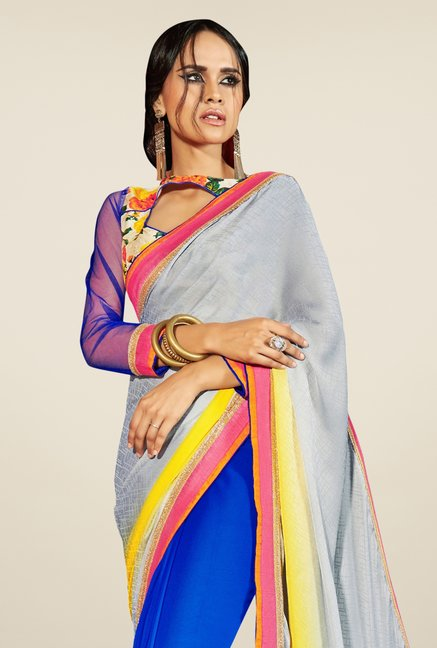 Triveni Blue & Grey Embroidered Faux Georgette Saree