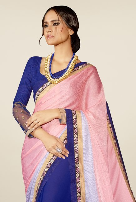 Triveni Blue & Pink Embroidered Faux Georgette Saree
