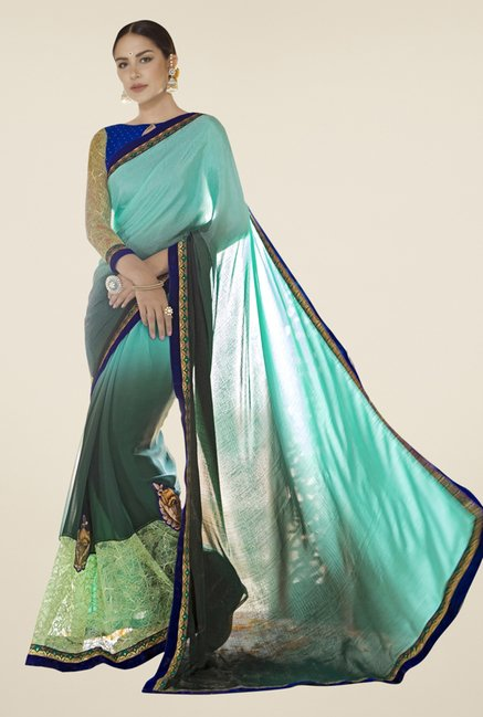 Triveni Grey & Turquoise Embroidered Satin Saree