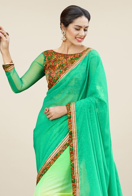 Triveni Green & Yellow Embroidered Faux Georgette Saree