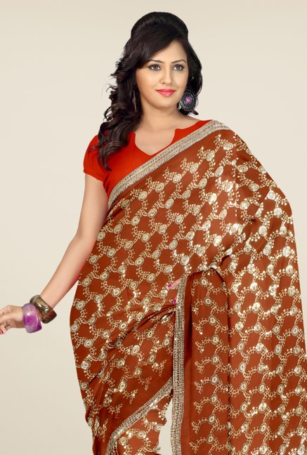 Triveni Brown Embroidered Faux Georgette Saree