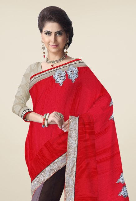 Triveni Multicolor Embroidered Faux Georgette Saree