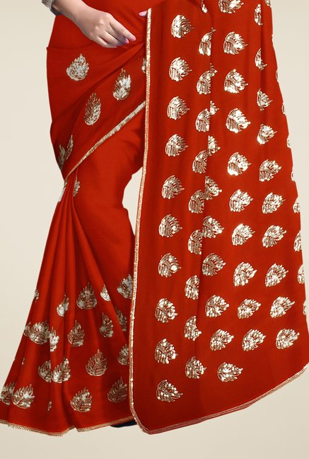 Triveni Rust Embroidered Faux Georgette Saree