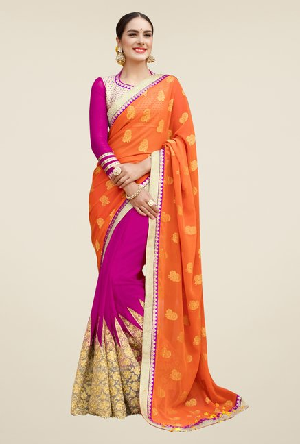 Triveni Magenta & Orange Embroidered Chiffon Saree