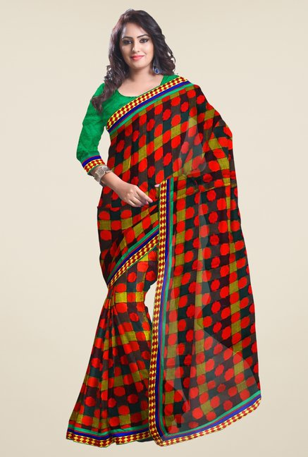 Triveni Orange & Black Printed Jacquard Saree
