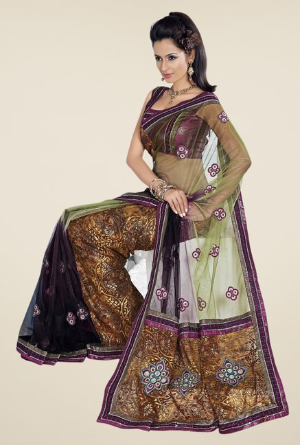 Triveni Multicolor Embroidered Net Brasso & Art Silk Saree