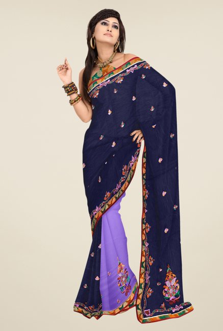 Triveni Navy & Purple Embroidered Faux Georgette Saree