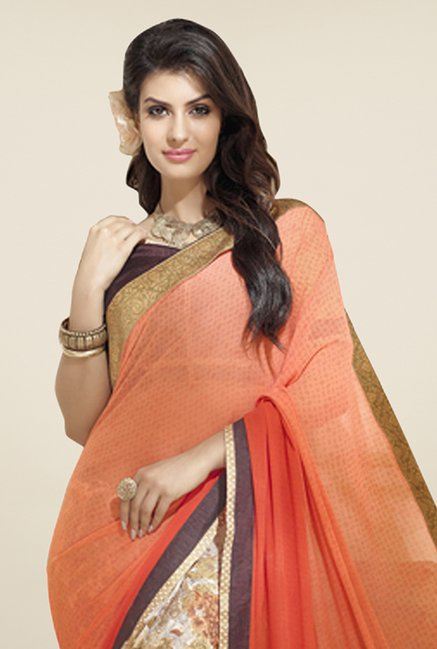 Triveni Beige & Peach Printed Faux Georgette Saree