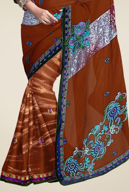 Triveni Brown Embroidered Net Saree