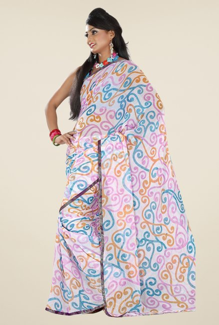 Triveni Multicolor Printed Faux Georgette & Chiffon Saree