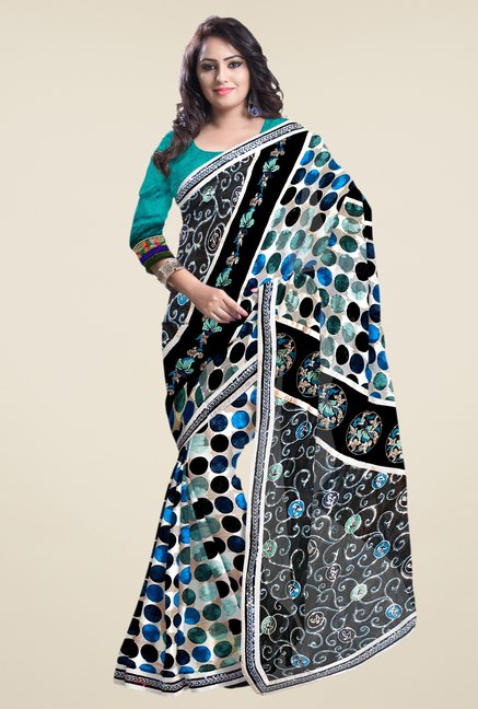 Triveni Black Embroidered Jacquard Saree