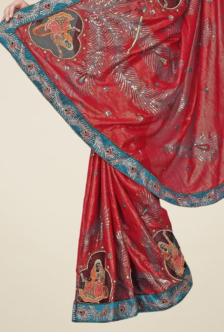 Triveni Red Embroidered Faux Georgette Saree
