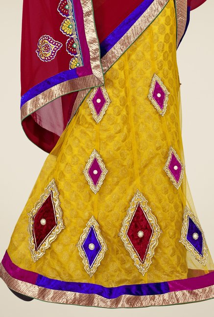 Triveni Yellow & Maroon Embroidered Lehenga Saree