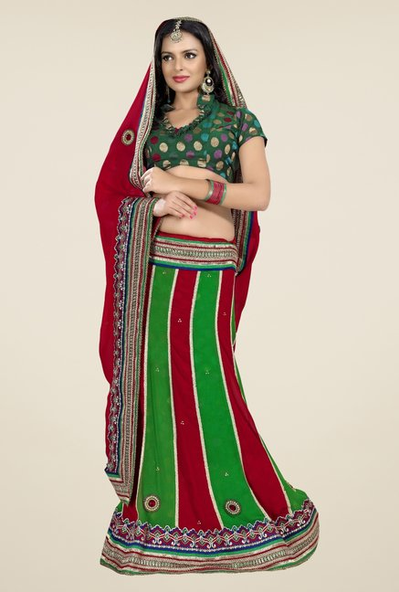 Triveni Green & Maroon Embroidered Lehenga Saree