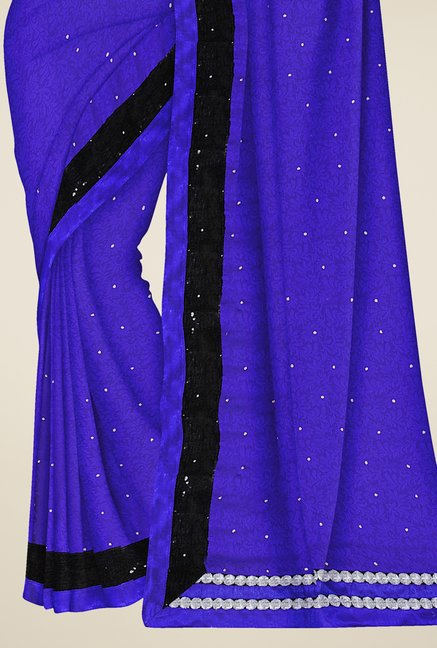 Triveni Blue Printed Faux Georgette Saree
