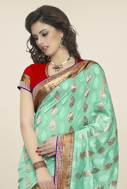 Triveni Green Embroidered Faux Georgette & Brasso Saree
