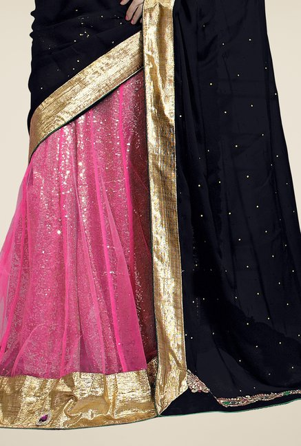 Triveni Pink & Black Embroidered Faux Georgette Saree