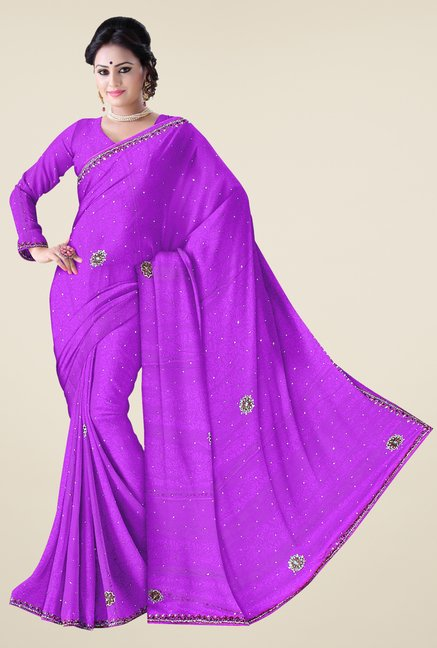 Triveni Purple Embroidered Crepe Saree