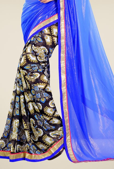 Triveni Black & Blue Printed Faux Georgette & Shimmer Saree