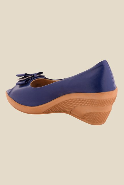 Cocoon Blue Peeptoe Wedges