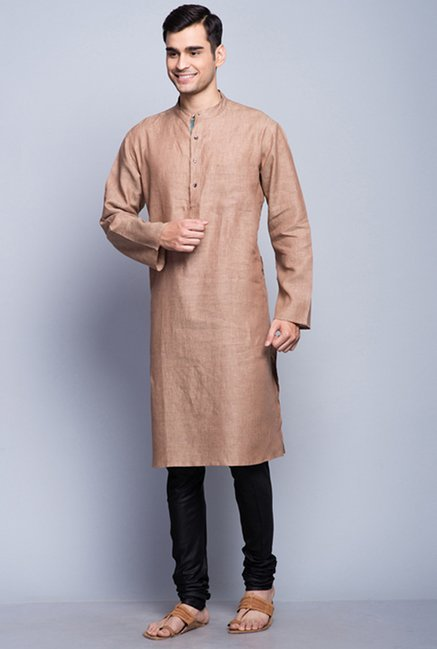 Fabindia Brown Solid Kurta