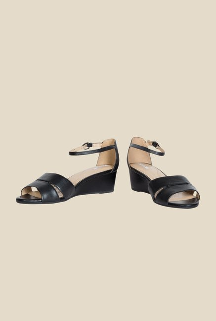 Geox Black Ankle Strap Wedges