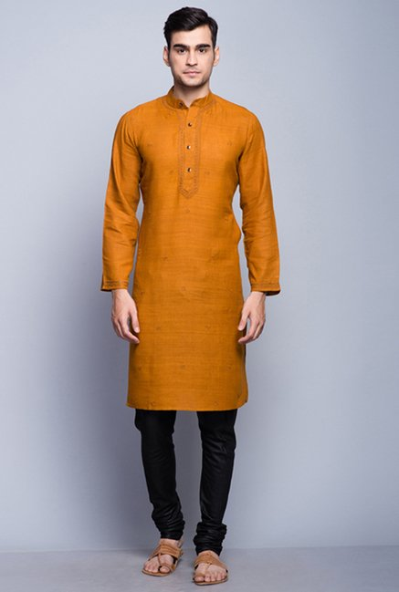 Fabindia Mustard Embroidered Kurta