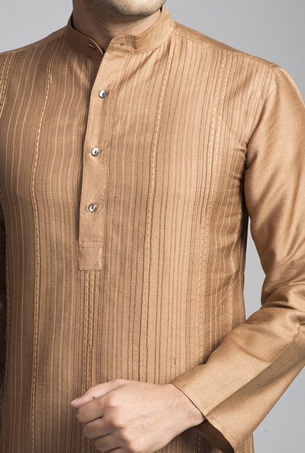 Fabindia Brown Embroidered Kurta