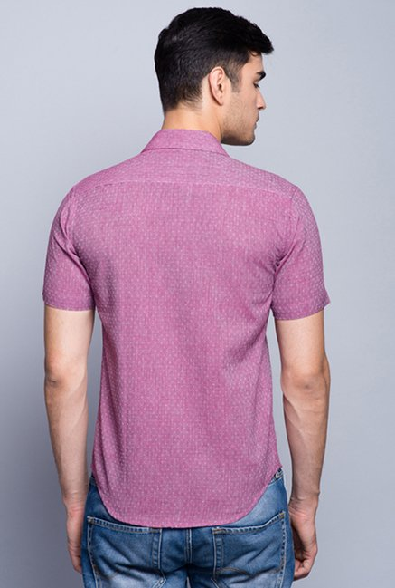 Fabindia Purple Self Print Shirt